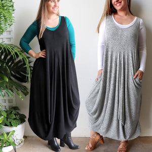 Plus size winter maxi dress in fine knit and is ideal for layering. Designed in Noosa, Australia and has been ethically produced in small runs.