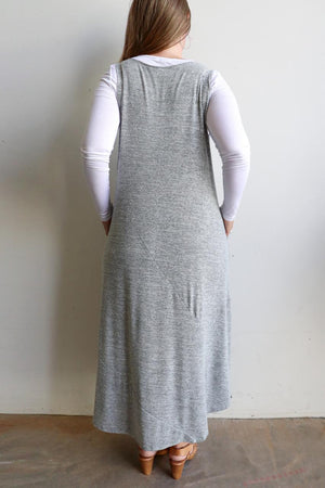 Plus size winter maxi dress in fine marle grey knit and is ideal for layering. Designed in Noosa, Australia and has been ethically produced in small runs.