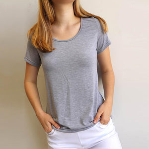 Women's stretchy soft polished cotton blend,  short sleeved t-shirt. Plain and basic summer top staple for easy styling and layering. Petite to plus size available from a 6 to 22 - Silver