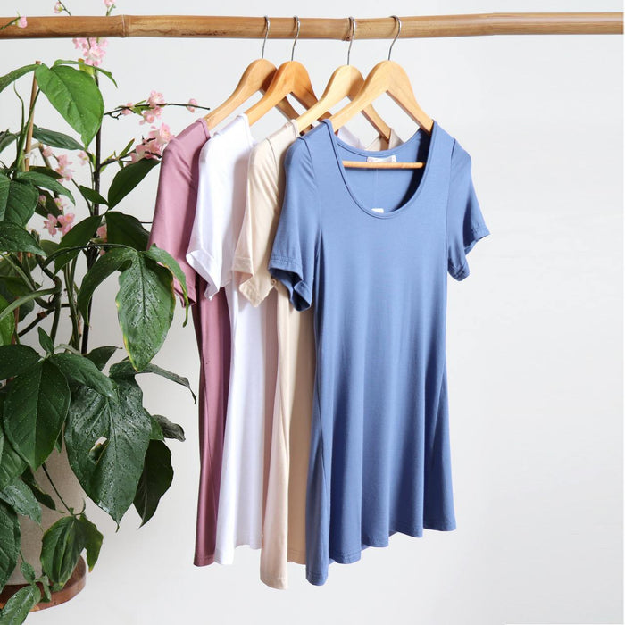 Polished Cotton Scoop Neck Tee - Short Sleeve