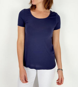 Women's stretchy soft polished cotton blend,  short sleeved t-shirt. Plain and basic summer top staple for easy styling and layering. Petite to plus size available from a 6 to 22 - Navy Blue