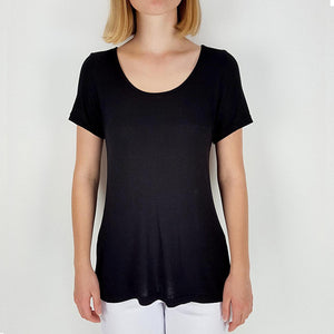 Women's stretchy soft polished cotton blend,  short sleeved t-shirt. Plain and basic summer top staple for easy styling and layering. Petite to plus size available from a 6 to 22 - Black