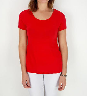 Women's stretchy soft polished cotton blend,  short sleeved t-shirt. Plain and basic summer top staple for easy styling and layering. Petite to plus size available from a 6 to 22 - Red