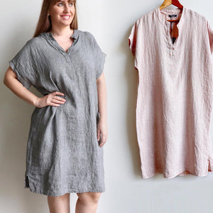 Purolino Tuscany Tunic Dress in pinstripe pure linen and made in Italy.  Knee-length hemline and plus size styling with this versatile summer dress.