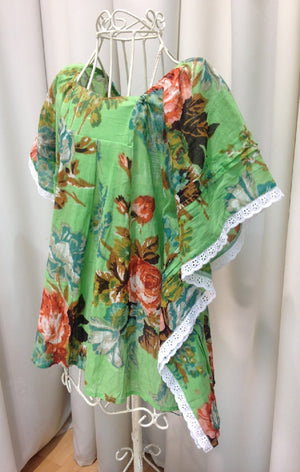 Girls Beach Kaftan Top Dress - Green floral