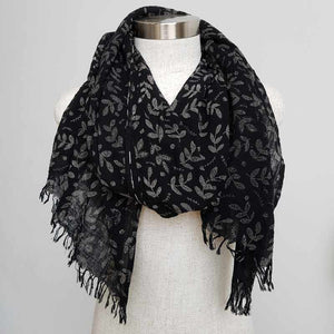 Natural cotton printed scarf fern print. Delicate + soft to touch. Ebony.