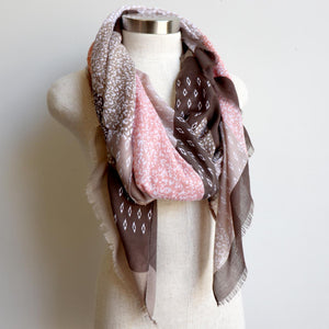 Autumn Skies Scarf manufactured from a soft and light cotton/poly.  Wonderfully oversized and measuring 180cm x 90cm. Peach Pink.