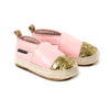 soft pink with glitter toe espadrille pair Pretty Brave baby shoes
