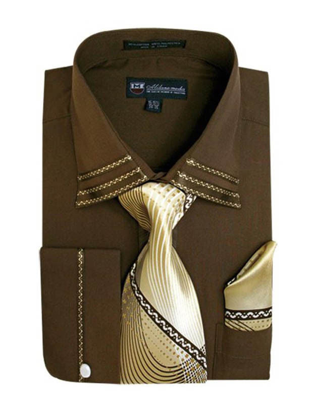 Milano Moda Shirt SG-28-Brown - Church Suits For Less