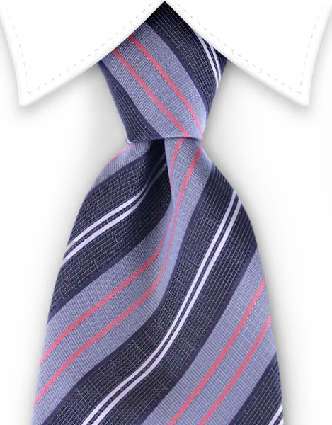Black, grey, pink striped tie