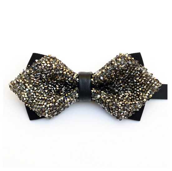 Silver and Charcoal, Sparkling, Party, Diamond Tip, Bow Tie