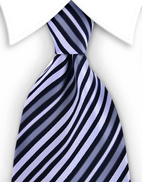 Black, white, silver striped tie