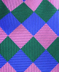 Blue, Pink and Green Harlequin Tie