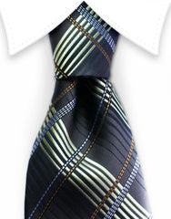 espresso brown and gold plaid tie
