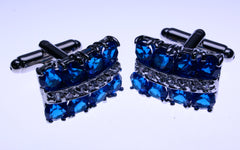 blue crystal and simulated diamond cufflinks