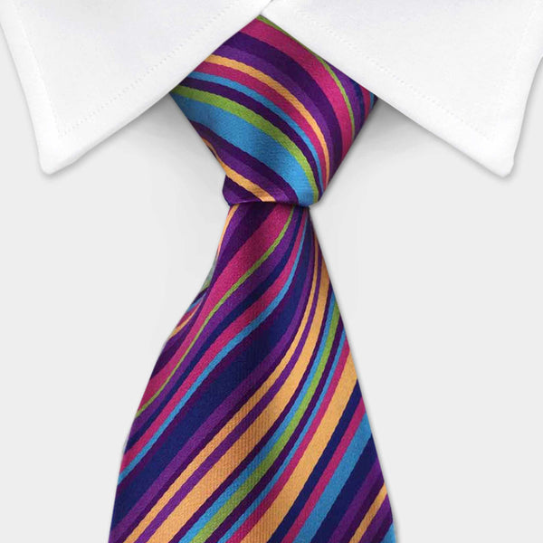 rainbow multi colored silk tie