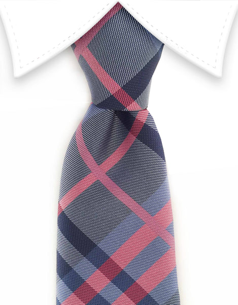Blue and pink plaid tie