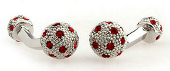 silver and red crystal cuff links