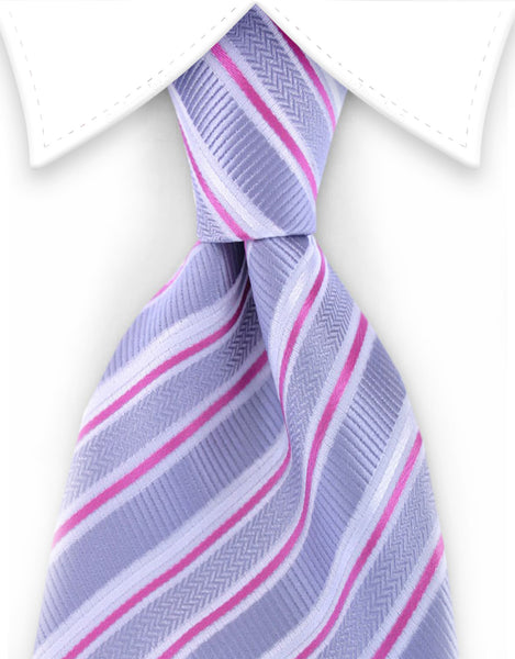 silver and pink extra long striped tie