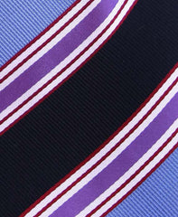 Blue, Black & Purple Striped Extra Long Necktie