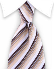 Brown & White Striped Extra Long Tie