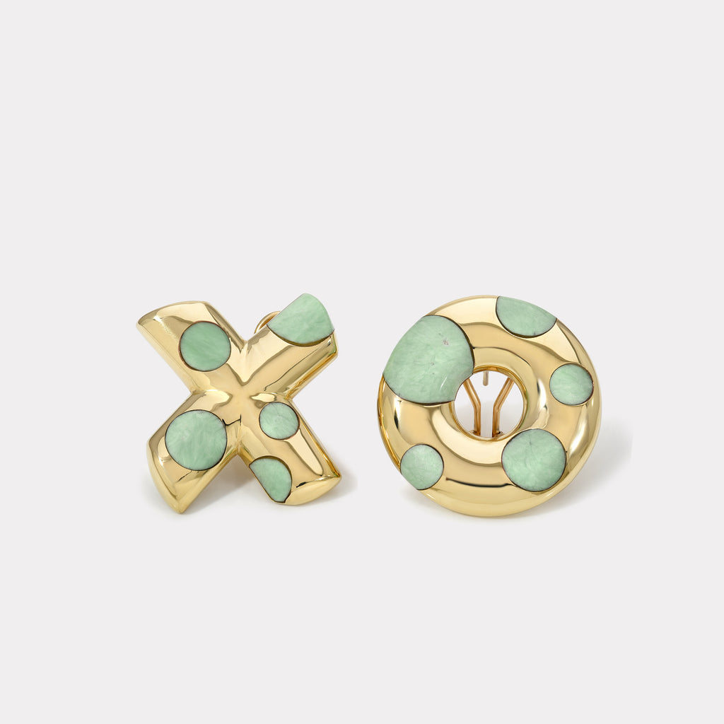 Polka Dot Oversized XO Earrings - Green Turquoise