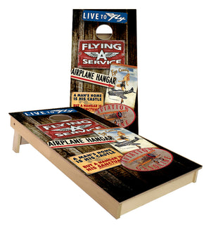 Aviation Hangar Flying Club Cornhole Boards