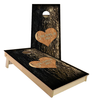 Carved in Wood Custom Wedding cornhole boards