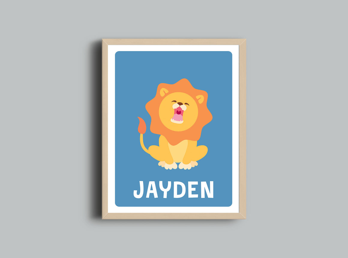 Personalized Art Print - Lion - Nursery Wall Art - The Imagination Spot