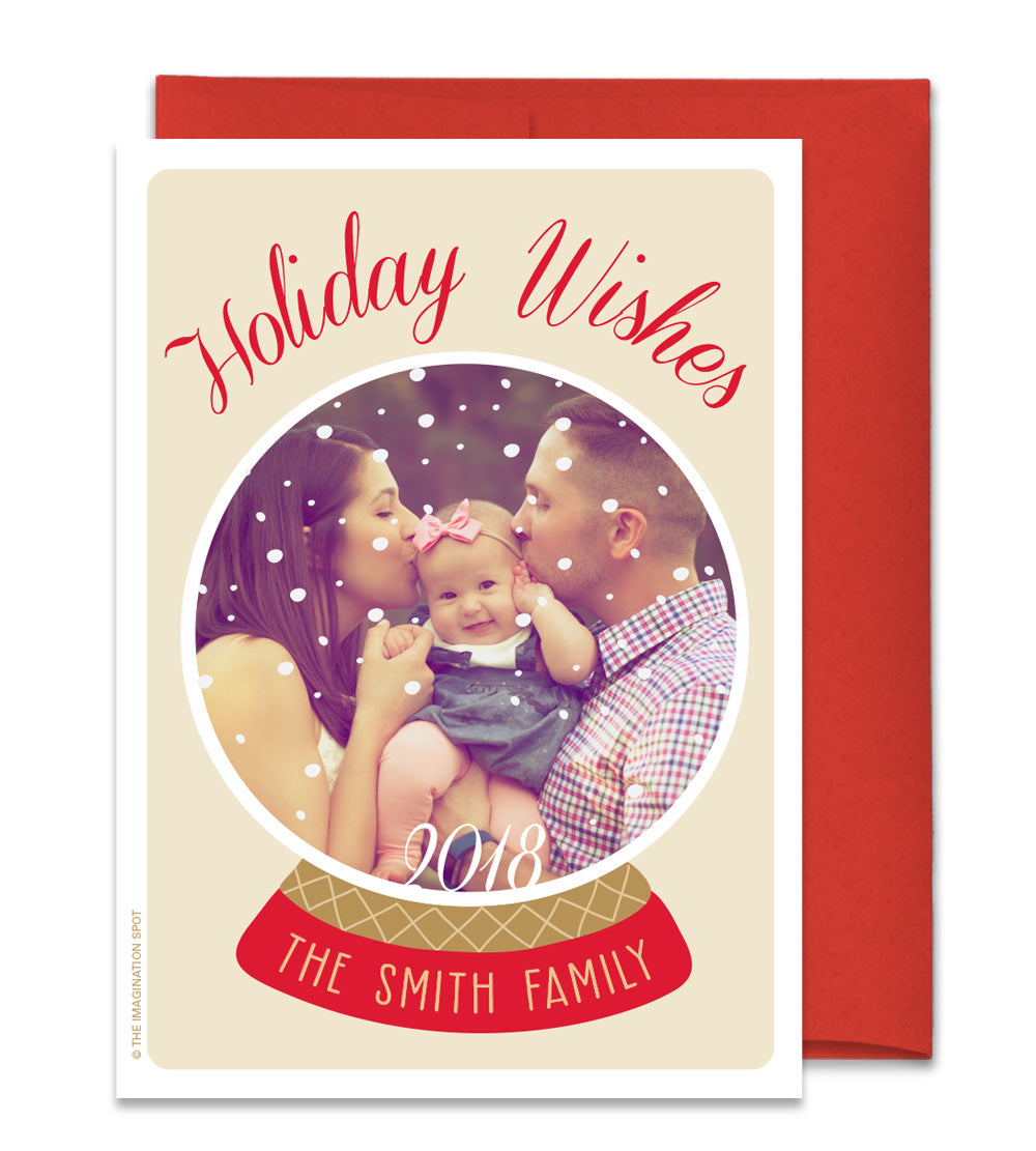 Personalized Christmas Photo Card - Family Snowglobe