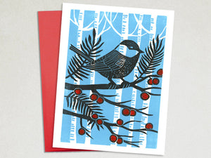 Christmas Card- Chickadee - Handmade Cards - Linocut