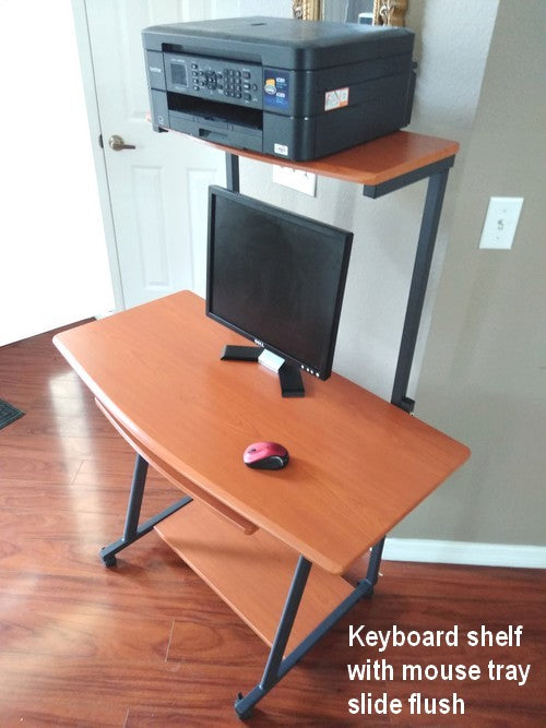 S40 40 inch computer desk, portable, with keyboard tray, mouse tray, bottom shelf and printer shelf.