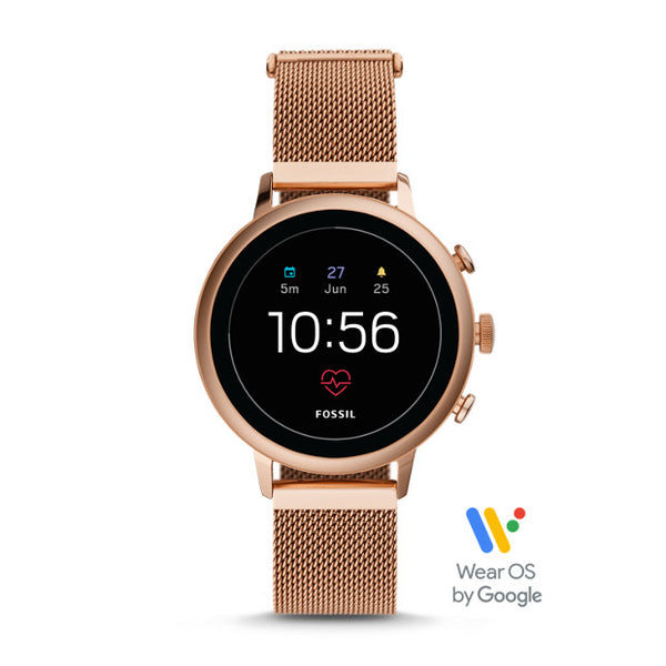 FOSSIL Gen 4 Smartwatch - Venture HR Rose Gold-Tone Stainless Steel Mesh