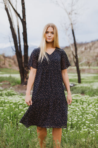 The Storm Patterned Empire Dress in Mulberry