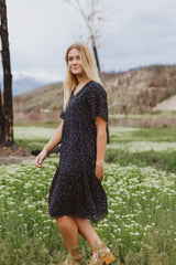 The Russet Patterned Tier Dress in Navy