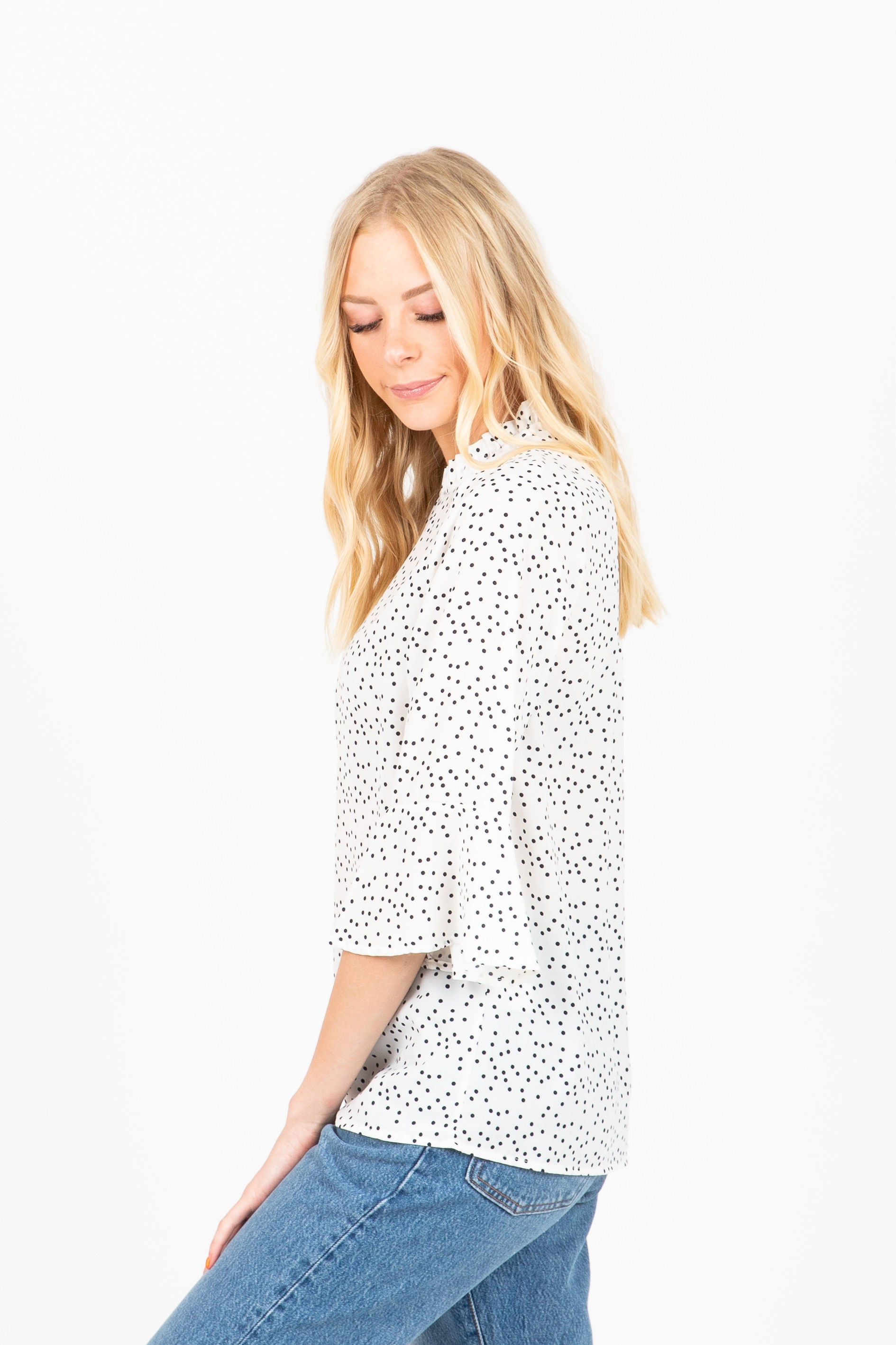 The Christina Dot Flare Sleeve Blouse in White
