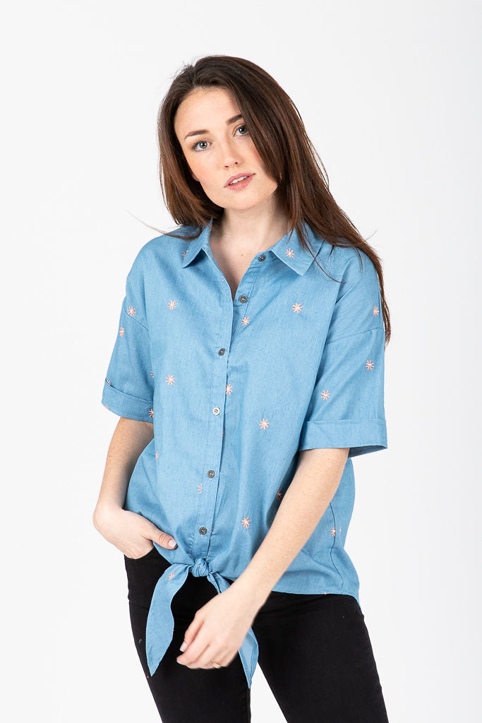 The Hudson Embroidered Tie Front Blouse in Denim
