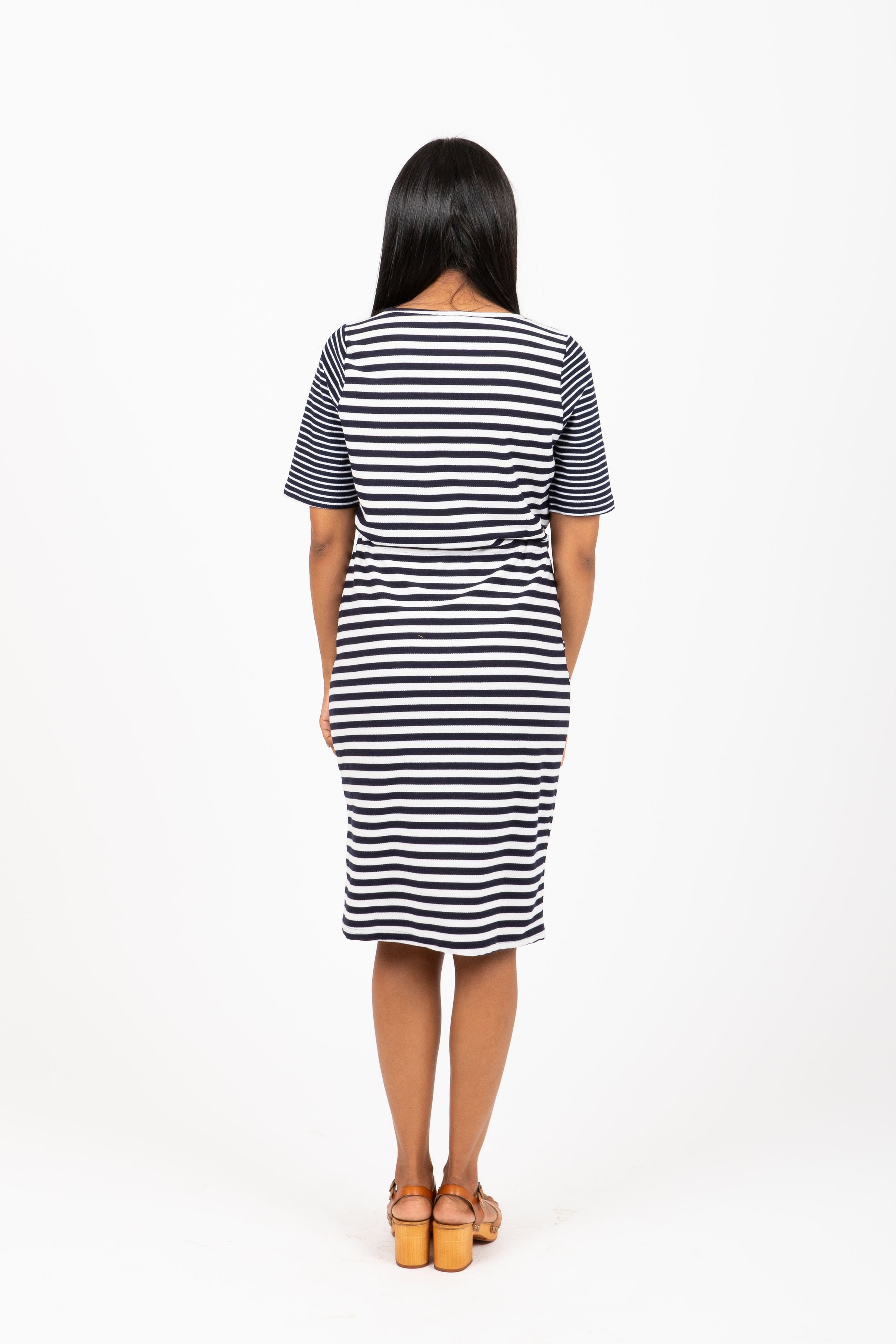 The Kemery Mixed Pattern Shift Dress in Navy
