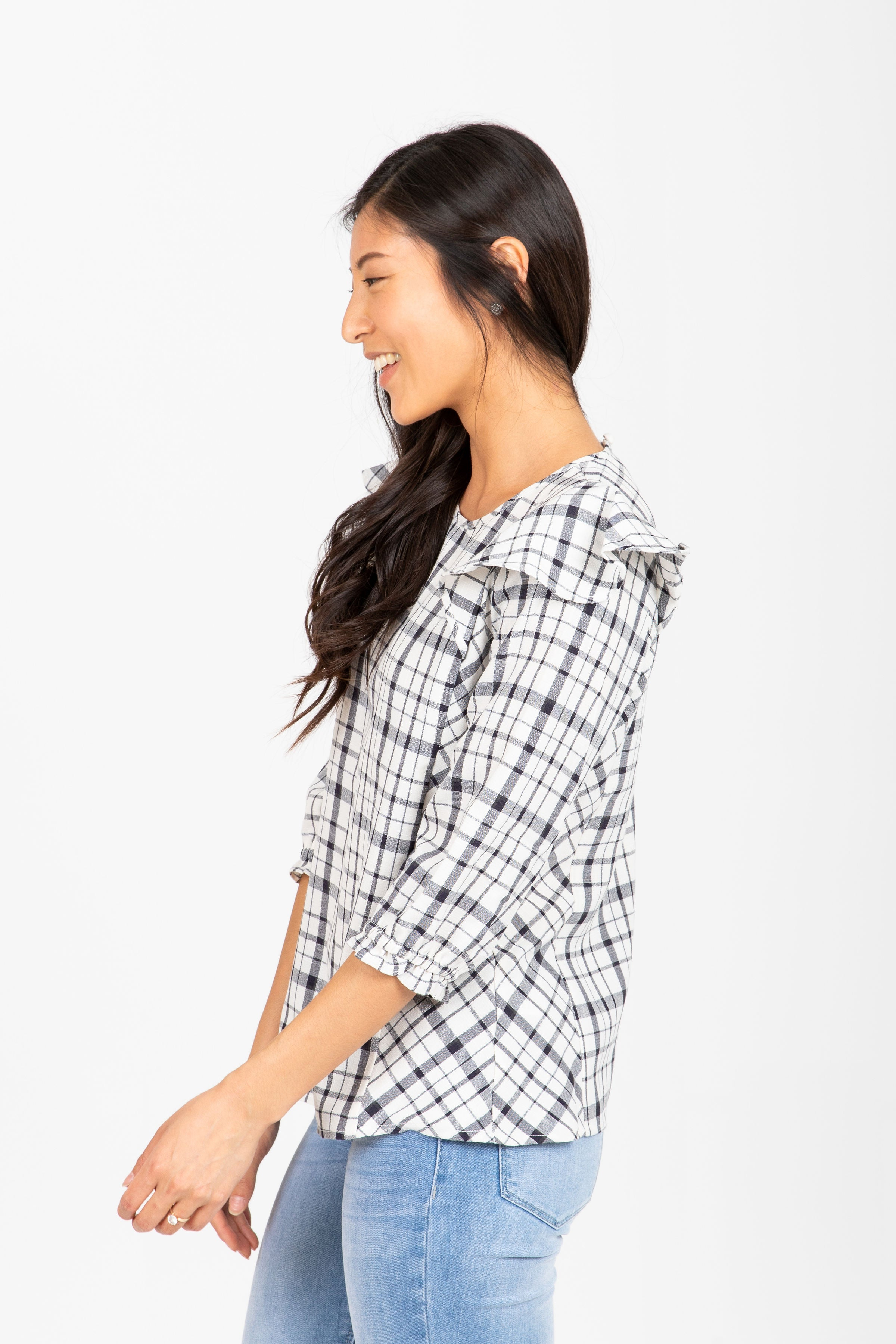 The Pearl Ruffle Plaid Blouse in White