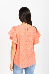 The Delaware Eyelet Blouse in Coral