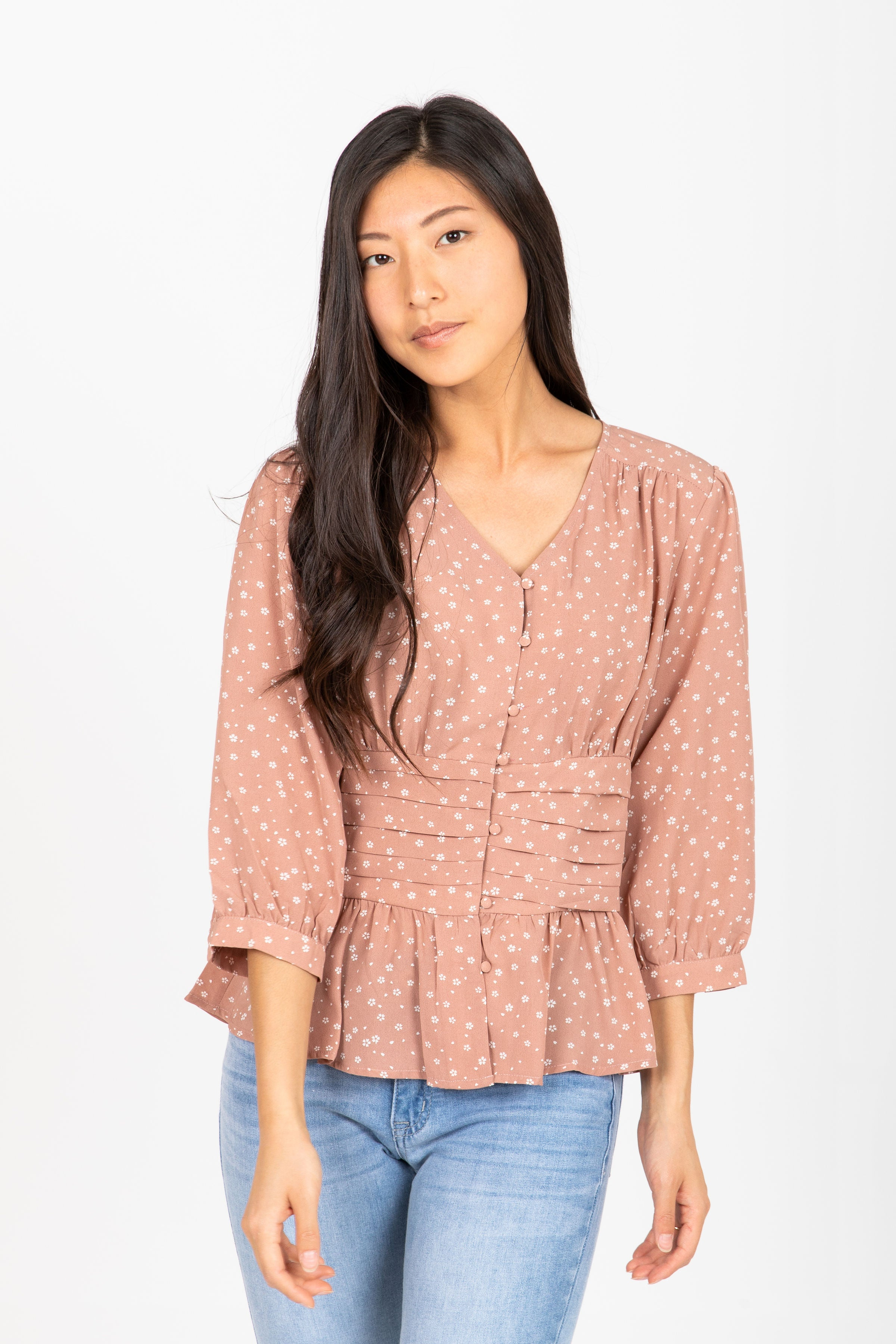 The Muse Floral Button Blouse in Mauve