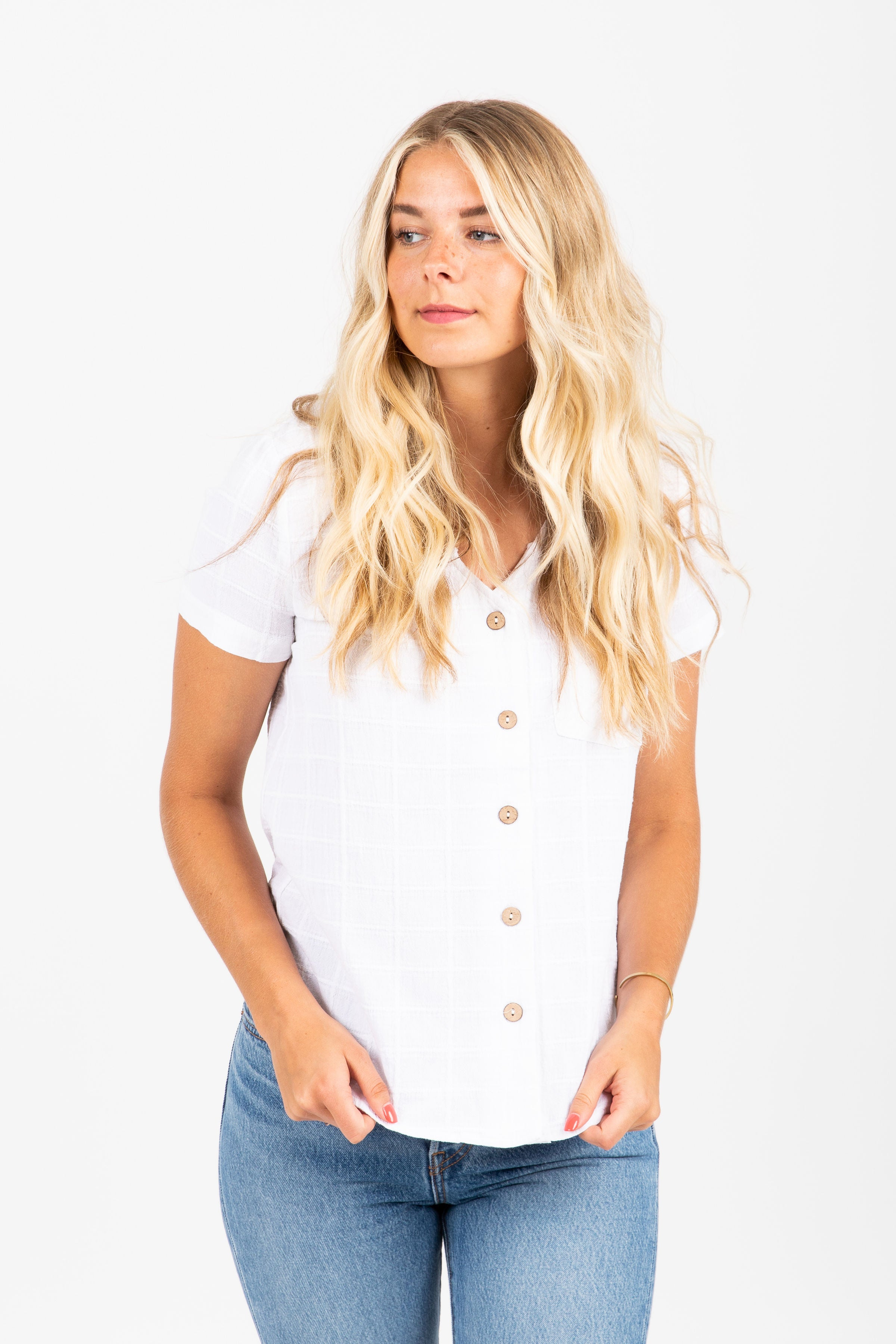 The League Textured Button Blouse in Ivory