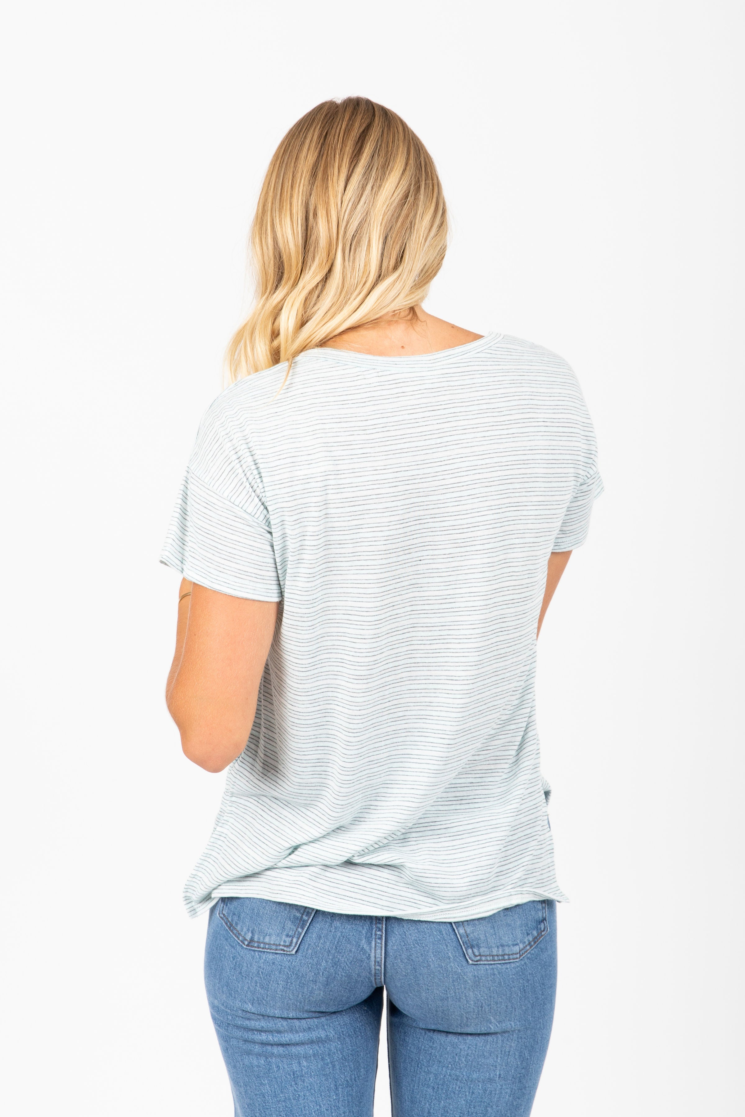 The Idylle Striped V-Neck Blouse in Sky