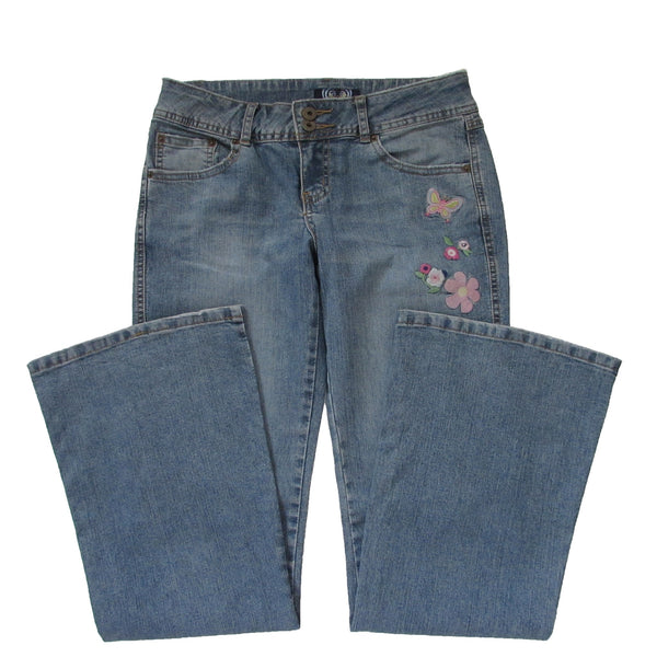 Angels Flared Embroidered Butterfly Jeans Folded Front