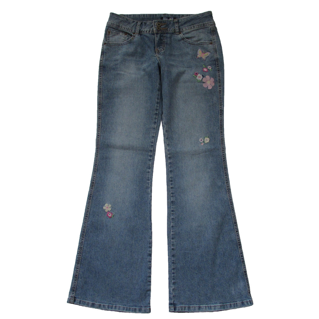 Angels Flared Embroidered Butterfly Jeans