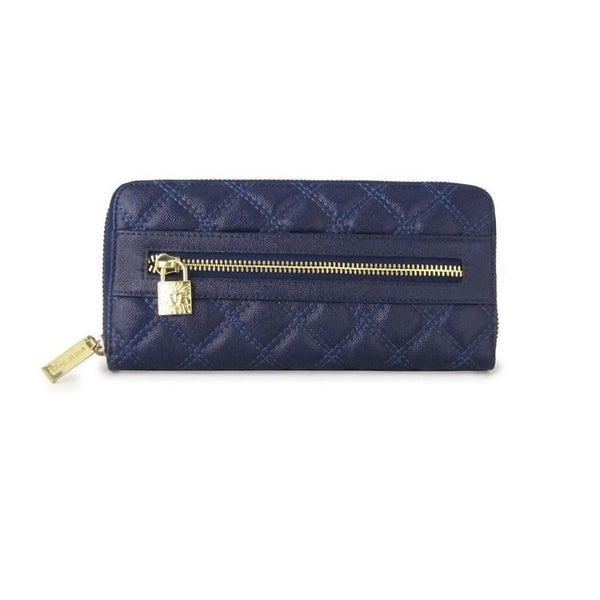 Anne Klein Shimmer Down Navy Quilted Wallet