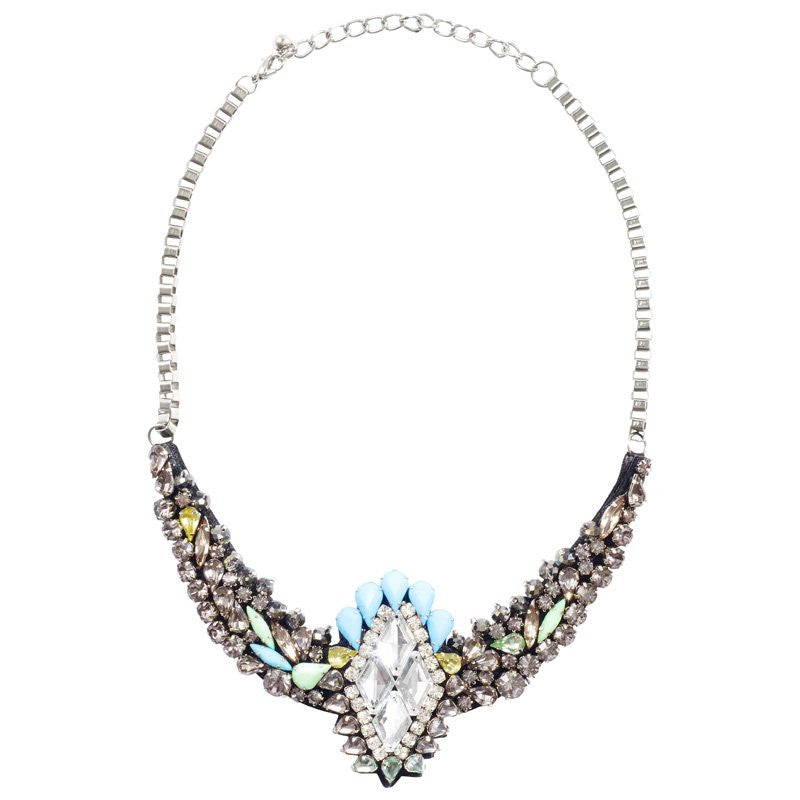 Cara Accessories Crystal Marquise Necklace in Sky Color