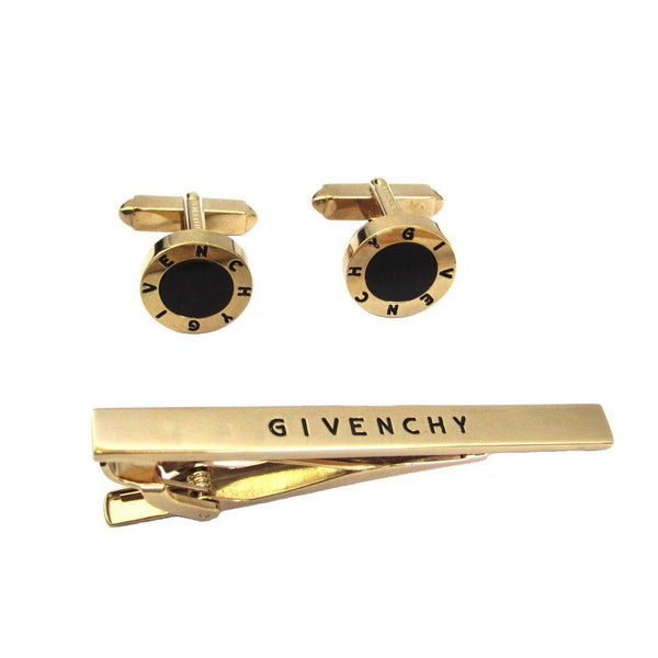 GIVENCHY Vintage Signature Cufflinks And Tie Bar