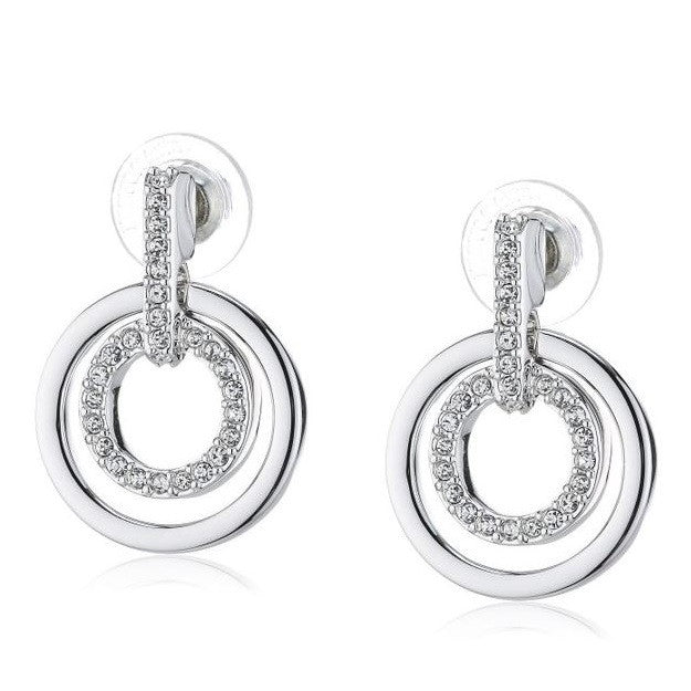 Swarovski Double Circle Rhodium Pave Earrings
