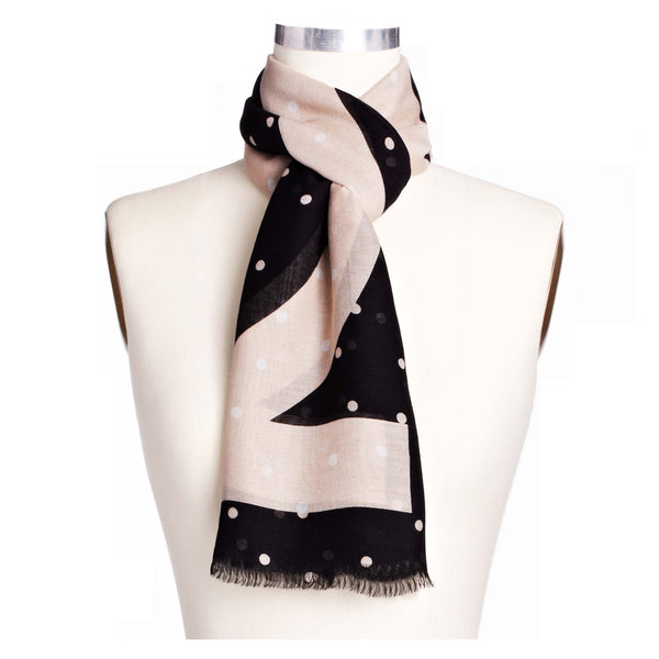 Ann Taylor Dotted Square Scarf in faint maple and black with white polka dots